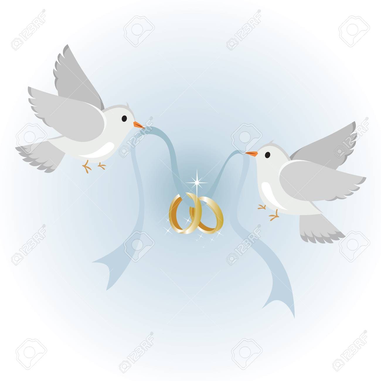 Wedding doves with rings, symbol of love and wedding..