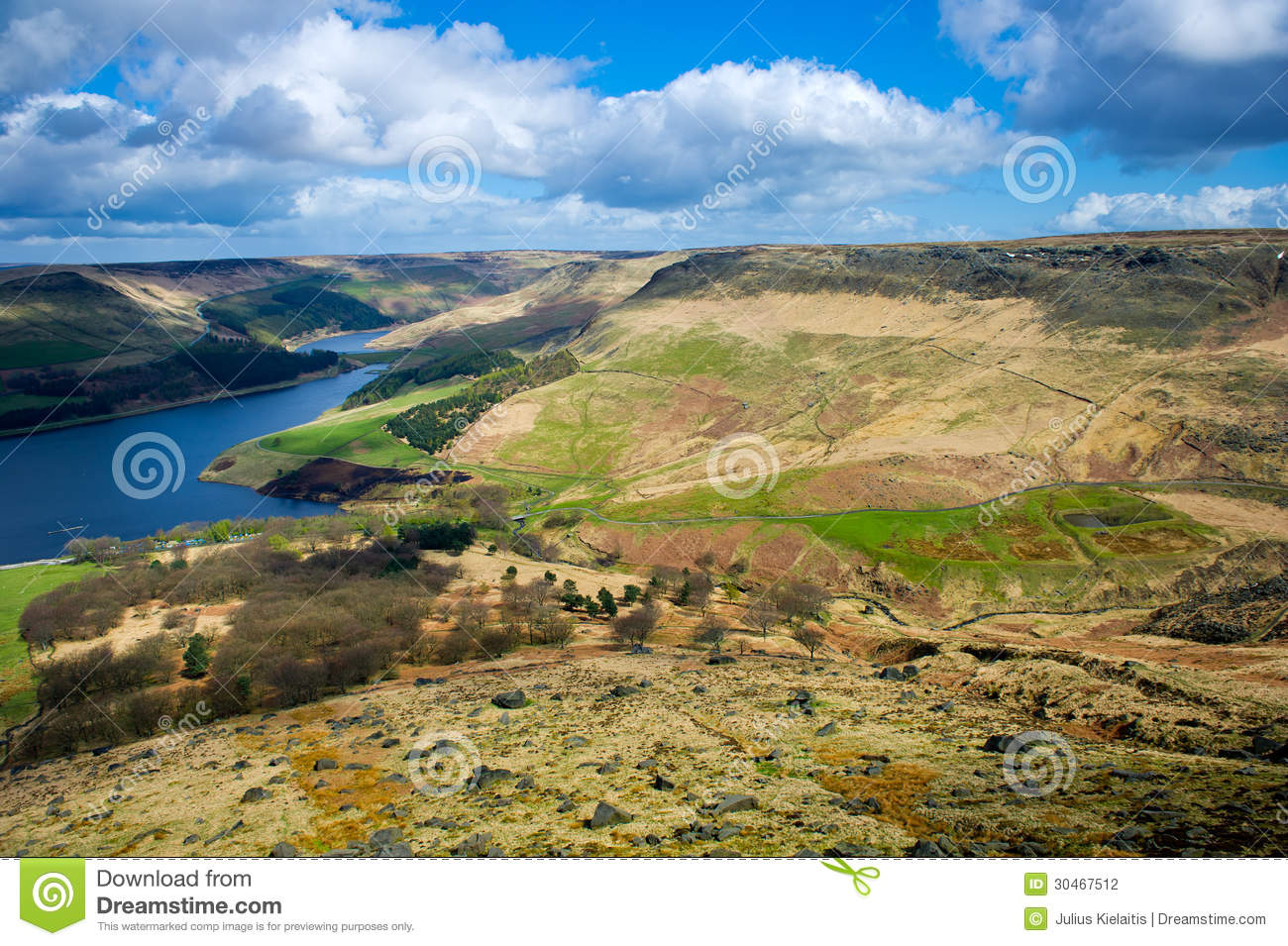Aerial View Of Dovestone Reservoir Stock Photography.