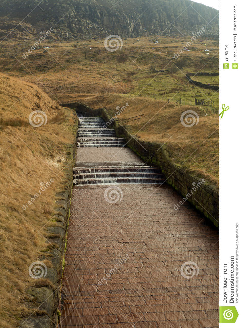 Water Overflow At Dovestone Reservoir England Stock Images.