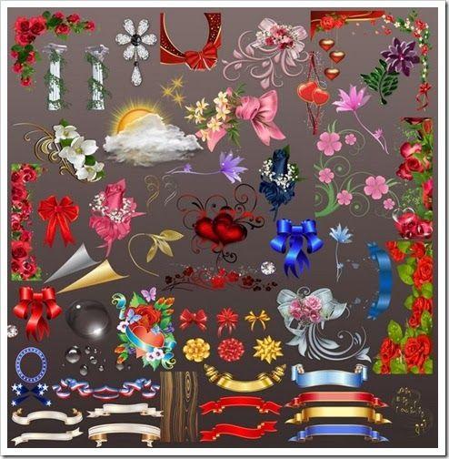 Create Wedding Album: Beautiful Flower Corner Clipart Free PNG.
