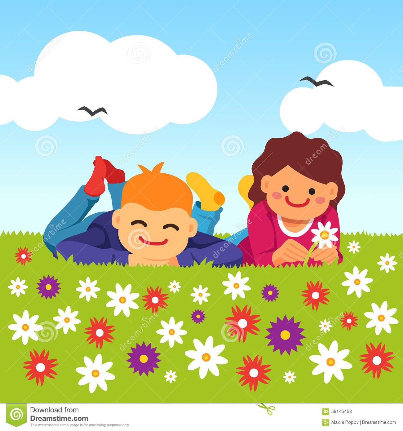 Laying down in grass clipart.