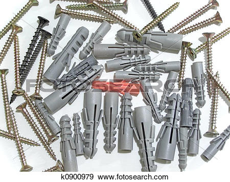 Stock Photograph of dowels and screws k0900979.