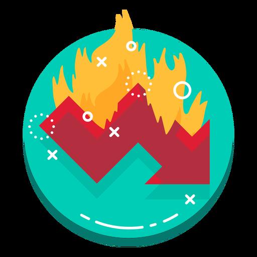 Down graph burn rate logo.