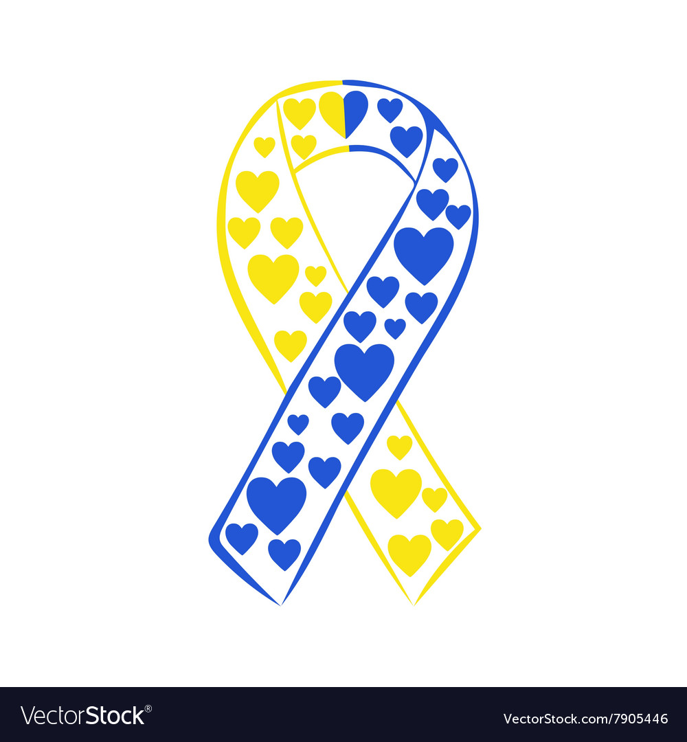 World down syndrome day yellow blue ribbon.