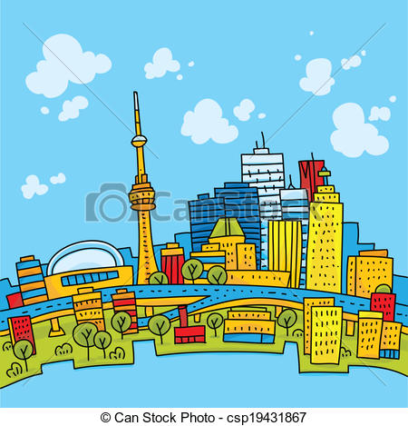 Clip Art Vector of Bright Toronto.