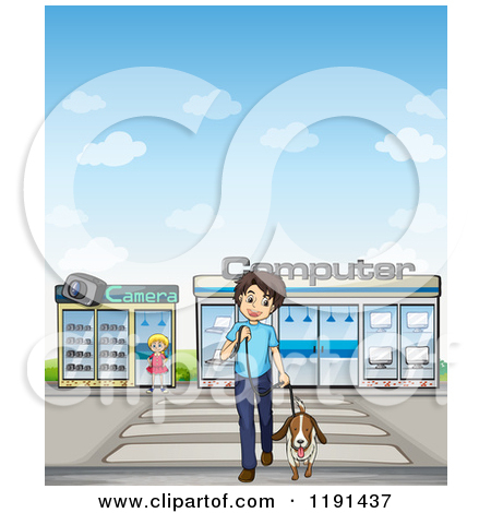 Cartoon of a Happy Man Walking His Dog over a Crosswalk down Town.
