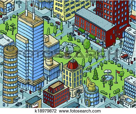 Clipart of Downtown City Scene k18979872.