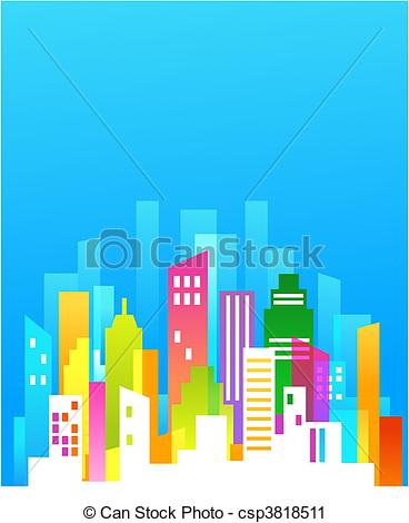 Vector Clip Art of Downtown background with blue sky.