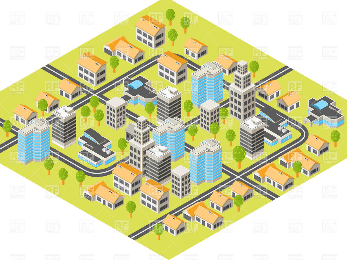 Isometric city with downtown and suburbs, buildings and roads.
