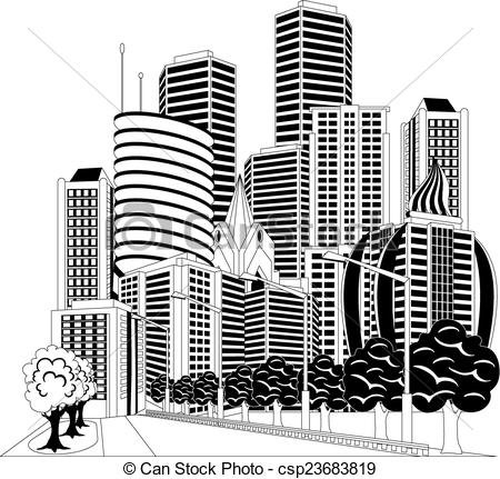 Vector Clip Art of Street in downtown.