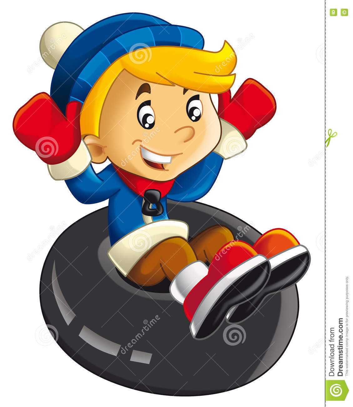 Cartoon Child Sliding Down On The Tube.