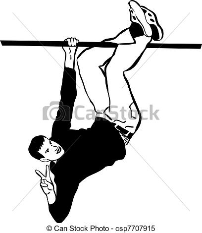 Clipart Vector of guy hanging upside down on the tube.