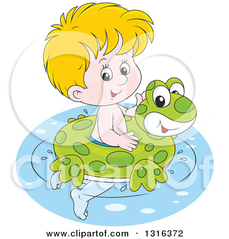 Clipart of a Happy Blond Boy Tubing down a Waterslide.
