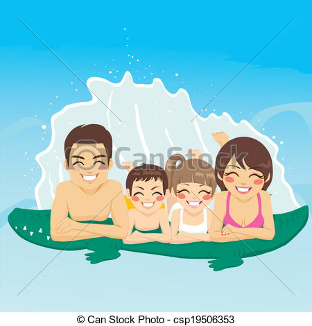Clipart Vector of Crocodile Tube Family Vacation.