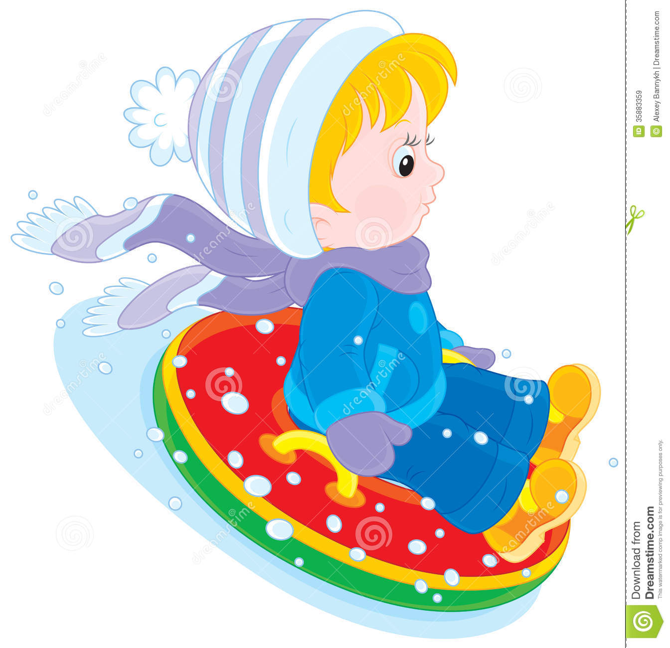 Child With An Inflatable Snow Tube Royalty Free Stock Images.