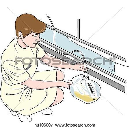 Stock Illustration of Nurse squatting down near hospital bed to.