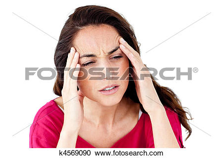 Stock Photography of Downcast hispanic woman having a headache.