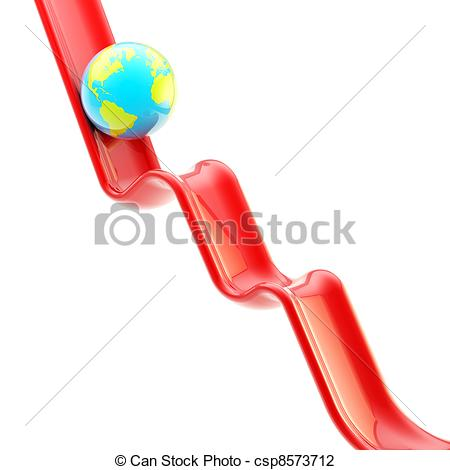 Clip Art of Earth planet on falling graph downfall as illustration.