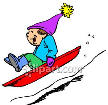 Boy Riding Sled Downhill.