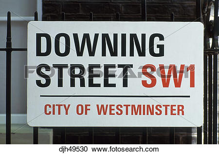Stock Photography of United Kingdom, London, Downing Street Sign.