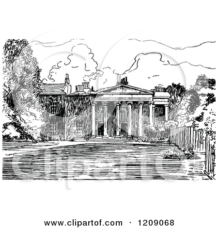 Clipart of a Vintage Black and White Facade of Downing College.