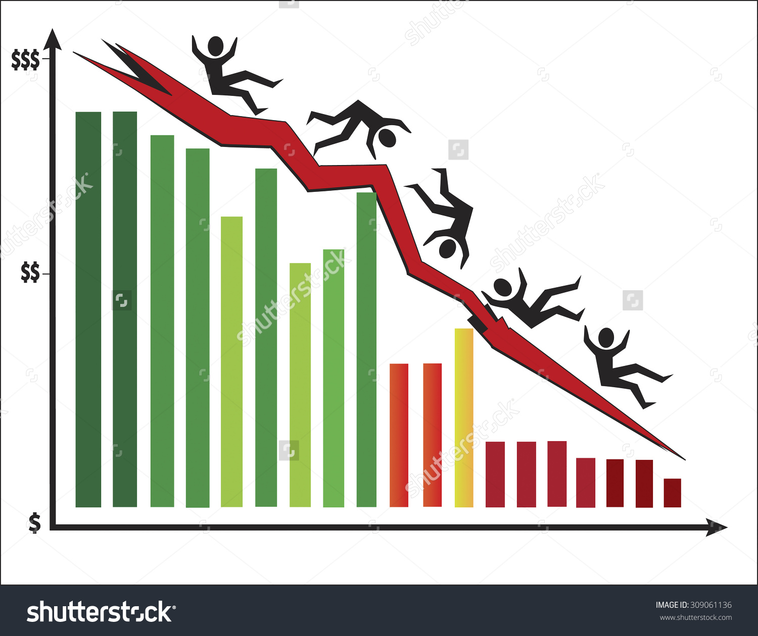Colorful Bar Chart Showing Stock Market Stock Vector 309061136.
