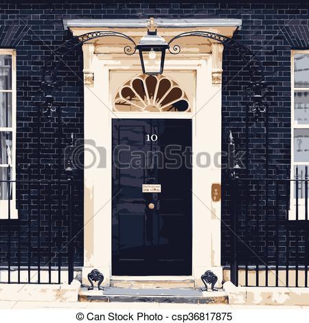 Vector Illustration of Ten Downing Street.