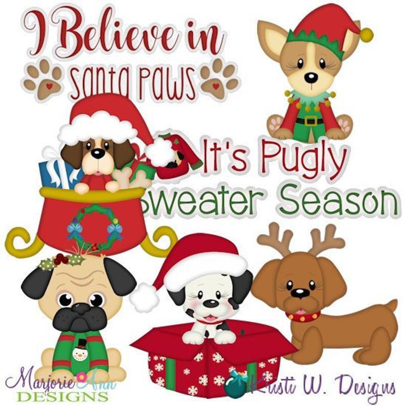Santa Paws Christmas Clipart.