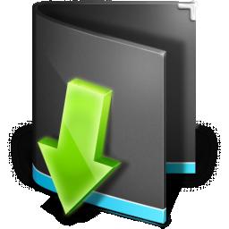 Downloads Folder Black Icon.