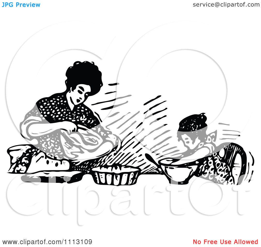 Mother Baking Black And White Clipart No Watermark.