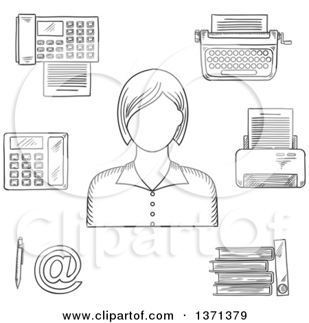 Download Free Black And White Clipart Secretary No Watermark.