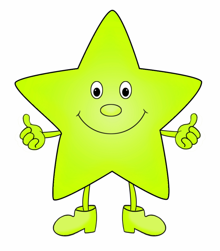 Light Green Funny Clip Art Of Star.