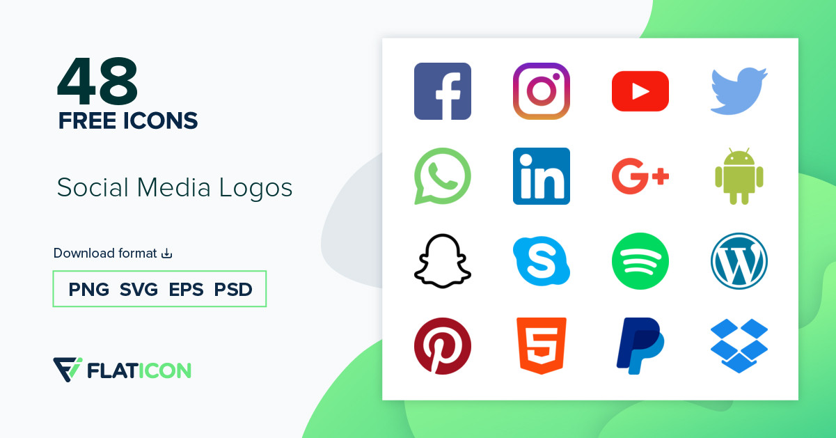 Social Media Logos 48 free icons (SVG, EPS, PSD, PNG files).