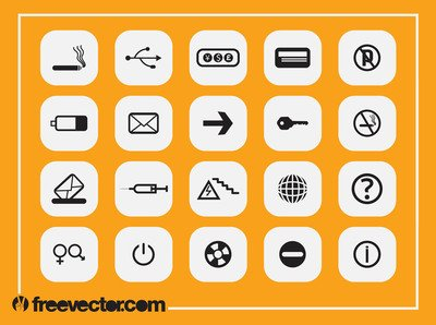 Black & White Flat Icon Pack Clipart Picture Free Download.