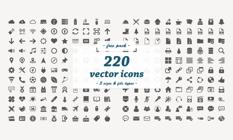 Free Download: 220 Flat Vector Icons.