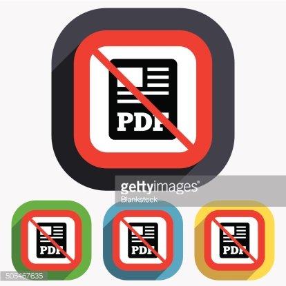 PDF file document icon. No Download pdf button. Clipart.