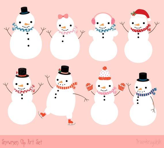 Cute snowman clipart, Instant download winter clipart.