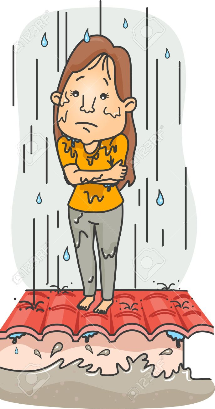 Illustration Of A Girl Caught In The Middle Of A Typhoon Stock.