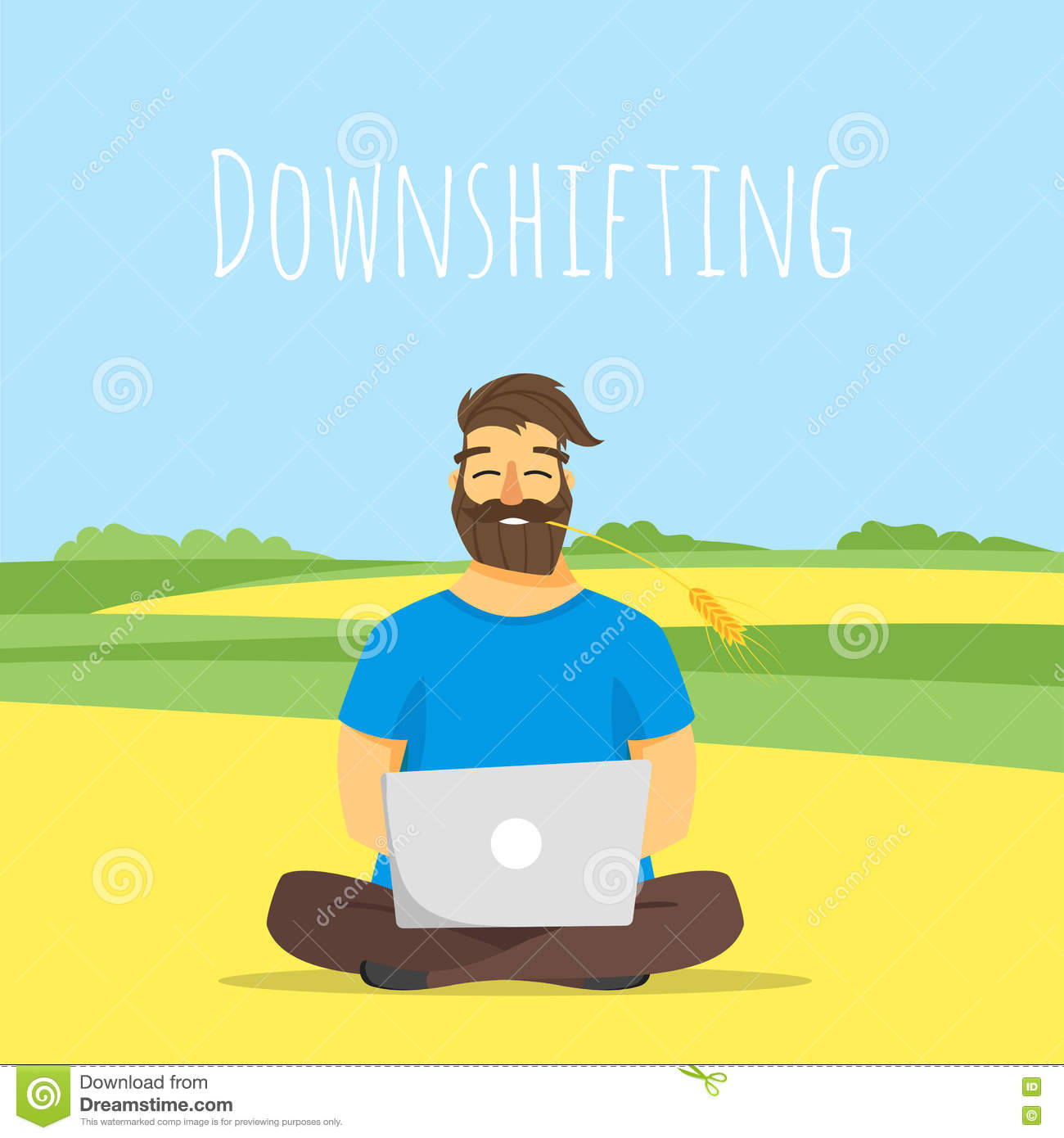 Vector Concept Illustration Of Downshifting. Stock Vector.