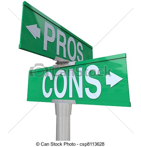 Pros and cons clipart.