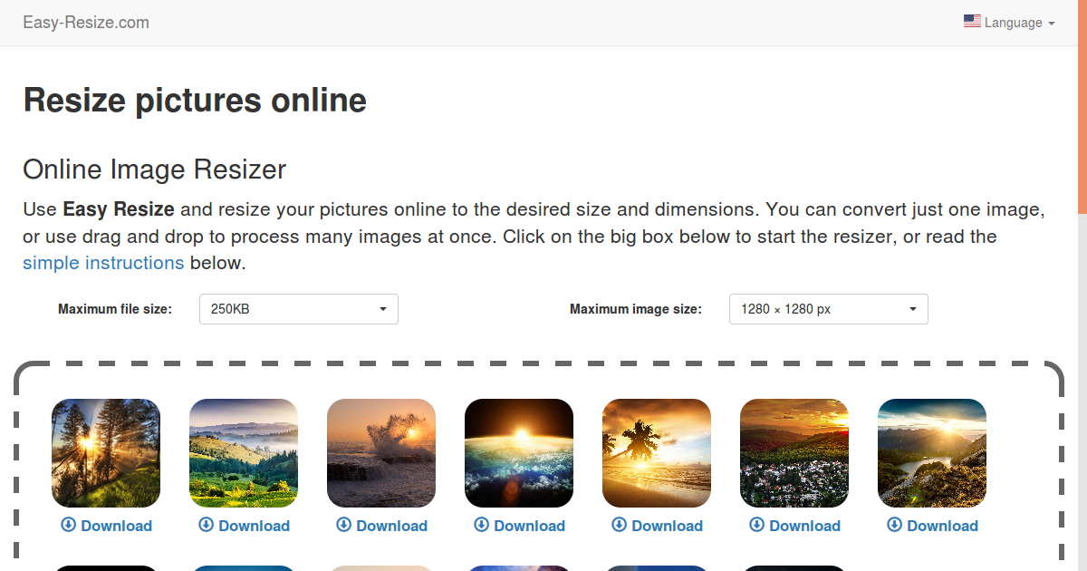 Resize any Photo, Image and Picture for Free Online.