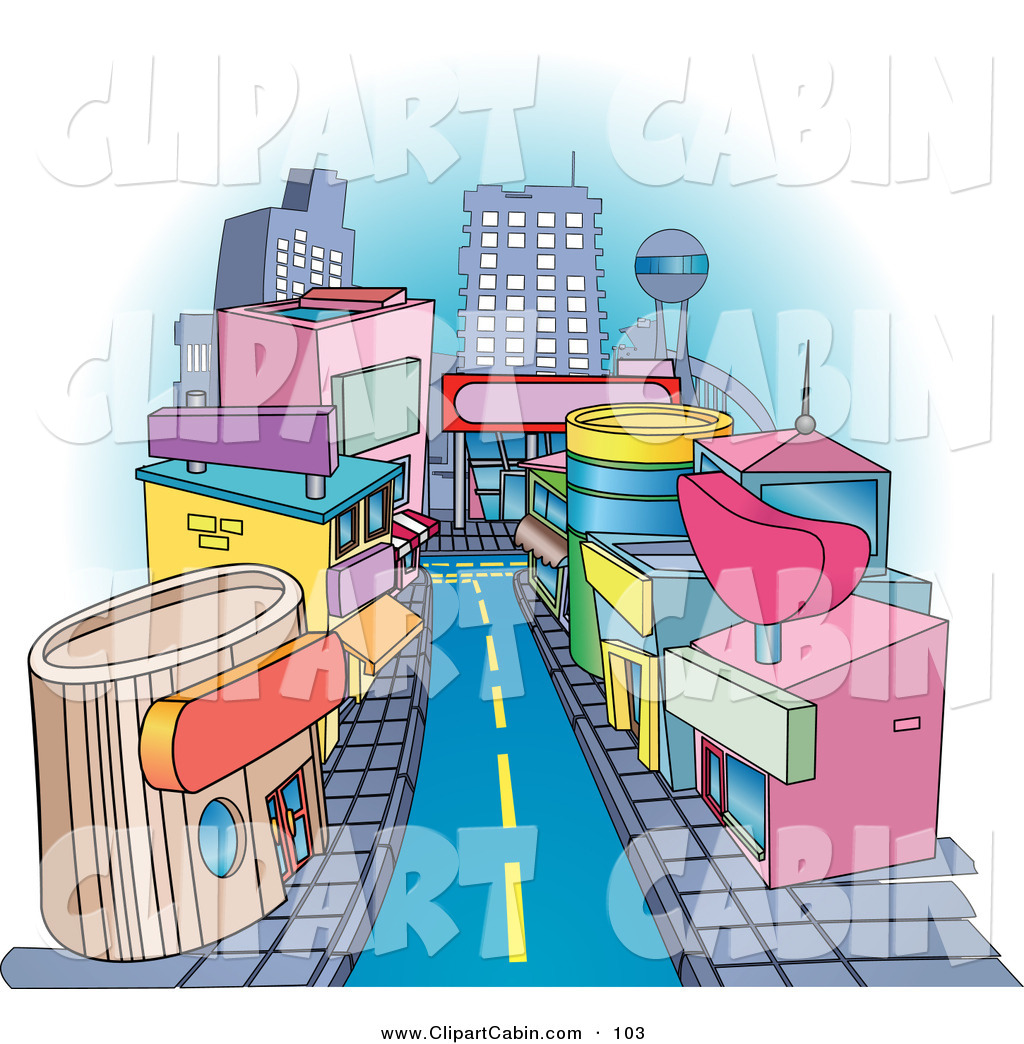 Vector Clip Art of Shops Downtown in a City Along a Street by.
