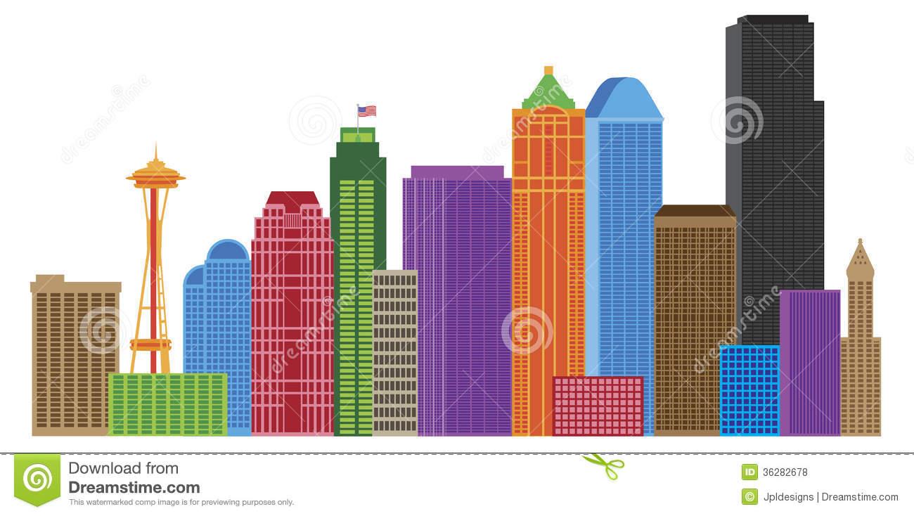 Seattle City Skyline Colors Illustration Royalty Free Stock Photos.