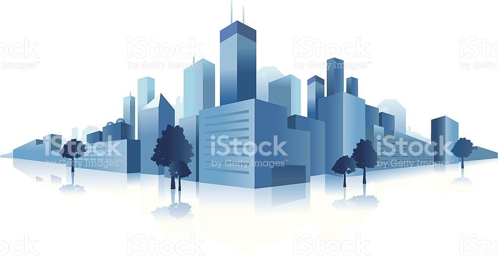 Blue Downtown City Clip Art stock vector art 165796992.