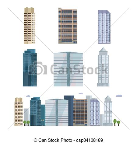 Vector of Office city building. Downtown landscape, skyline.