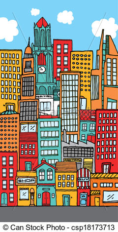 Vector Clip Art of Crowded downtown city cartoon.