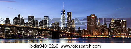 """Stock Images of """"Brooklyn Bridge, view from Main Street Park over."""