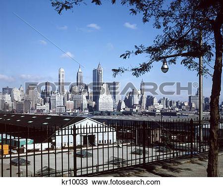 Stock Photo of 1960 1960S New York City Skyline Lower Manhattan.