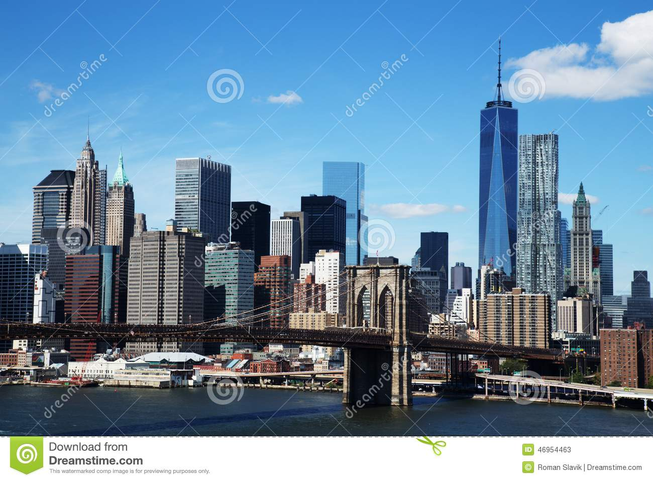 Aerial View Of New York City Downtown Skyline With Brooklyn Bridge.