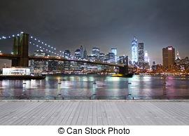 Clipart of brooklyn bridge at night, new york, usa.